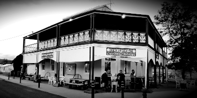 The black and white photo of the Crown Hotel Maryvale Queensland