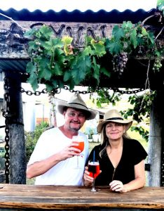 Michael and Annie Keddy have a drink in the beer garden at the Crown Hotel Maryvale Queensland