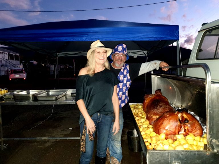 Annie-Dr Phil present the Pig-on-the-spit last saturday of the month